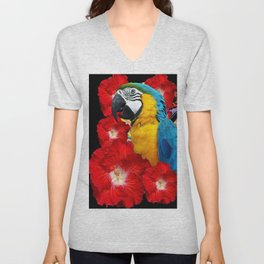 Red Hibiscus Flowers & Blue Macaw Parrot Black Accents Unisex V-Neck