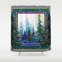 PINE TREES BLUE FOREST  LANDSCAPE TEAL PATTERN Shower Curtain