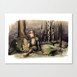 Girl and Troll Canvas Print