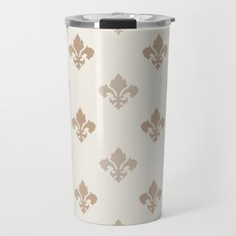 Fleur de lis Pattern – Neutral Brown and Biege Earth Tones Travel Mug
