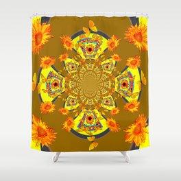 ABSTRACT SUNFLOWERS & BUTTERFLIES KHAKI ART Shower Curtain