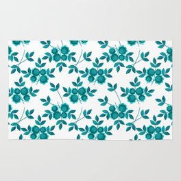 Retro .Turquoise flowers on a white background . Rug