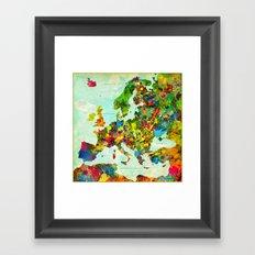 Europe Splatter Map Framed Art Print