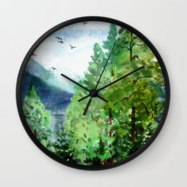 Mountain Forest Wall Clock