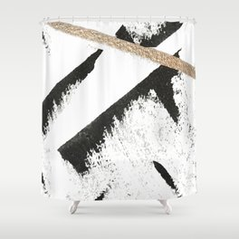 Sassy: a minimal abstract mixed-media piece in black, white, and gold by Alyssa Hamilton Art Shower Curtain