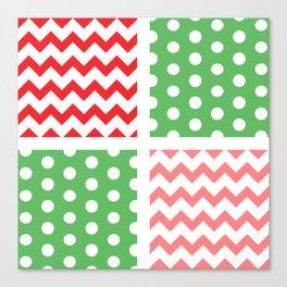 Two-Tone Red/Green/White Chevron/Polkadot Canvas Print