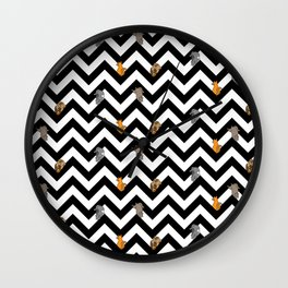 Cats on a Chevron Wall Clock