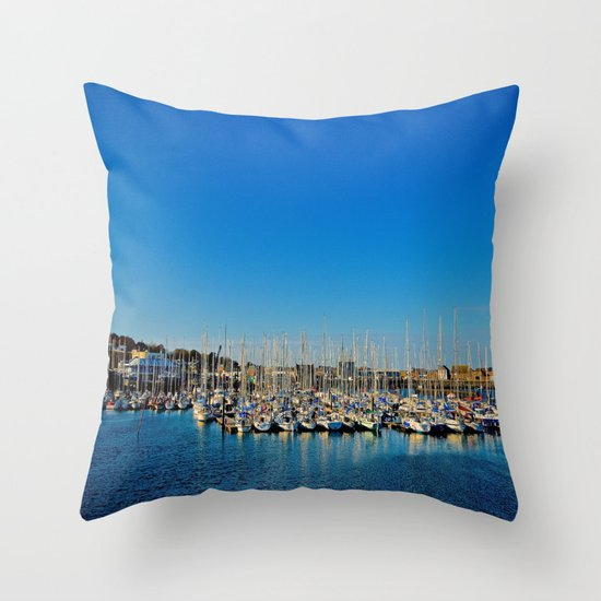 The Boats of Howth Harbor Throw Pillow