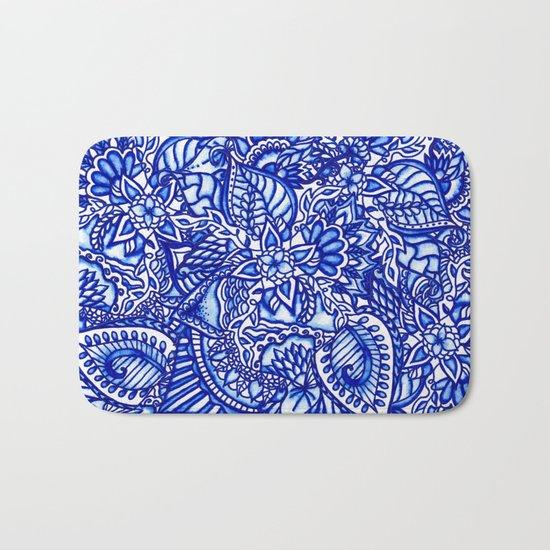 Modern blue handdrawn watercolor floral mandala Bath Mat