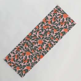 Oranges and Leaves Pattern - Pink Yoga Mat