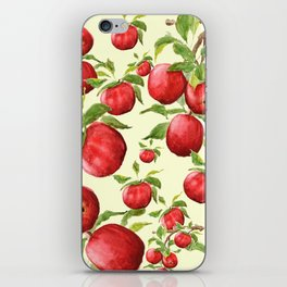 red apple in yellow background iPhone Skin