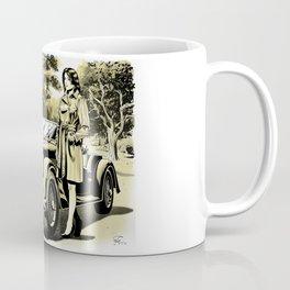Woman with a vintage car Coffee Mug