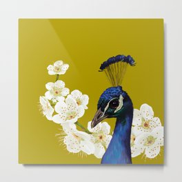 Peacocks and Cherry Blossoms Metal Print