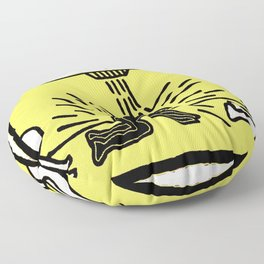 Society6 Online Premium Art - K. A. Haring - Untitled 1985 - Black Superpowers 55K Floor Pillow