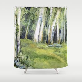 Woodland Landscape Watercolor Vermont Painting Birch Trees Spring Fields Shower Curtain