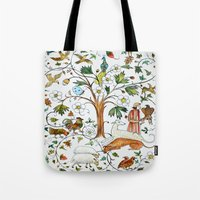 medieval Tote Bags featuring MEDIEVAL by oxana zaika