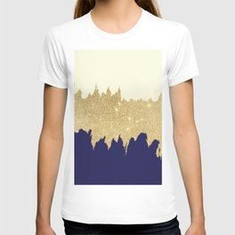 Navy blue ivory faux gold glitter brushstrokes T-shirt