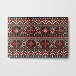 Ukrainian Folk Pattern in Red Metal Print
