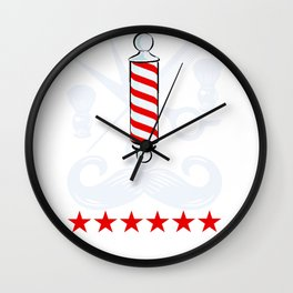 Barbers Design Barber Pole Scissors Clippers Gift Wall Clock