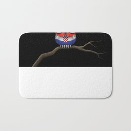 Baby Owl with Glasses and Croatian Flag Bath Mat