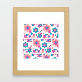 Teal Blue, Hot Pink, and Coral Floral Framed Art Print