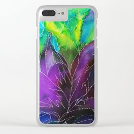 Purple Leaf Clear iPhone Case
