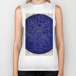 Constellation Stars blue space map on gold marble Biker Tank