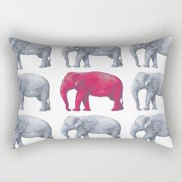 Elephants Red Rectangular Pillow
