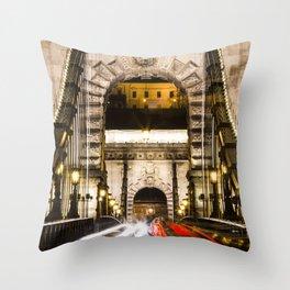 Budapest Chain Bridge Throw Pillow
