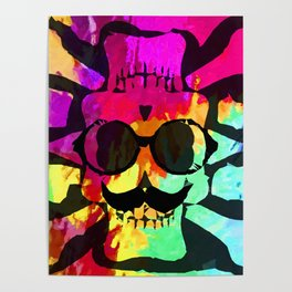old vintage funny skull art portrait with painting abstract background in red purple yellow green Poster
