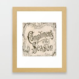 Season's Greetings Shabby Chic French Country Modern Vintage Christmas Typography Framed Art Print