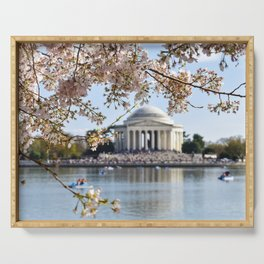 Cherry Blossoms at the Jefferson Memorial Serving Tray
