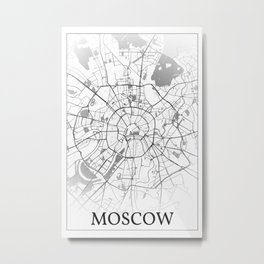 Moscow, Russia, city map print Metal Print