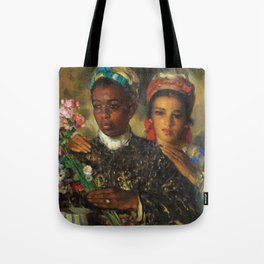 "African American Masterpiece ""Women Arranging a Bouquet of Flowers' by Jose Cruz Herrera Tote Bag"