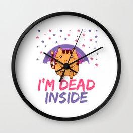 Cat I'm Dead Inside Depression Kills Raise Awareness T-shirt Design Help Heal Comfort Talk Chat Free Wall Clock