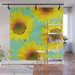 Sunflowers on a pastel green backgrond  Wall Mural