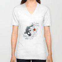 ying yang V-neck T-shirts featuring Koi fish ying yang by Maioriz Home