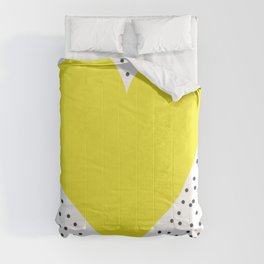 Yellow heart with grey dots around Comforters