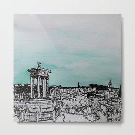 Edinburgh Illustration, Watercolor and Chinese Ink Metal Print