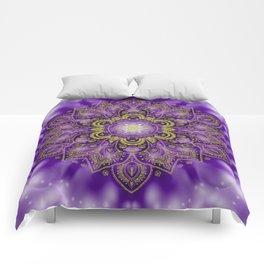 Mandala of Lights on Purple Comforters