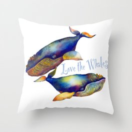 Love the Whales Throw Pillow