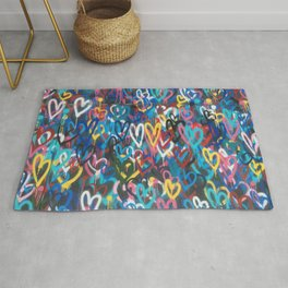 Love Hearts Abstract Graffiti Street Art Rug