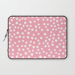 Bright pink and white doodle dots Laptop Sleeve