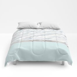 Calacatta verde - silver turquoise Comforters