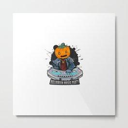 Halloween Pumpkin Head Dj Music Party With Punk Rocker Jacket Metal Print