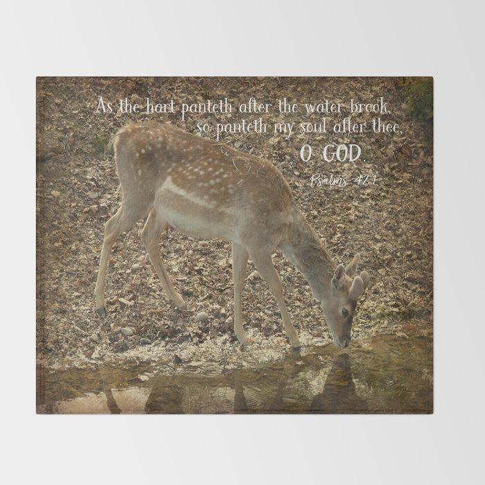 Psalms Bible Verse with Deer Throw Blanket