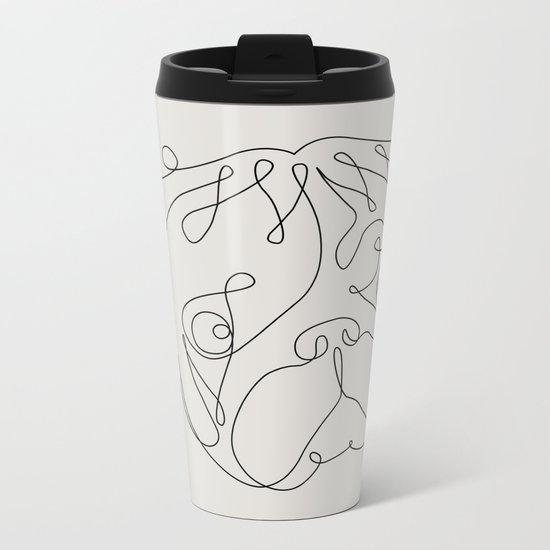 One Line Pug Metal Travel Mug