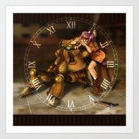chrono trigger Art Prints featuring Chrono Clock by Astrobunny