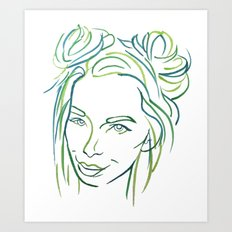 Green Portrait Art Print