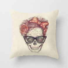 Hipster Girl is Dead Throw Pillow